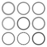Vector Set Of Thick And Thin Round Rope Frame. Royalty Free Stock Photo