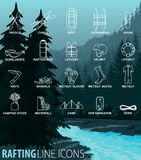 Vector Set Of Thin Line Icons - Rafting Whitewater Travel Stock Photos