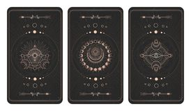 Free Vector Set Of Three Dark Backgrounds With Sacred Symbols, Grunge Textures And Frames. Illustration In Black And Gold Colors Royalty Free Stock Image - 163447276