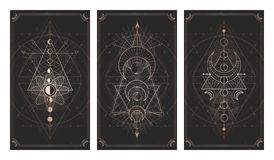 Free Vector Set Of Three Dark Backgrounds With Sacred Symbols, Grunge Textures And Frames. Illustration In Black And Gold Colors Royalty Free Stock Photos - 163447318