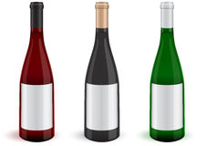 Vector Set Of Three Realistic Wine Bottles. Stock Photography