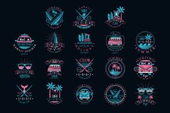 Free Vector Set Of Vintage Logos For Surfing Club. Creative Emblems With Surfboards, Sunglasses, Vans And Palm Trees. Hawaii Stock Photography - 146911222
