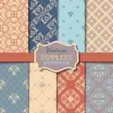 Vector Set Of Vintage Seamless Patterns. Royalty Free Stock Photos