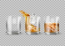 Free Vector Set Of Whiskey Glass Isolated On Transparent Background. Whisky With Ice. Glasses With Alcohol Drink, Realistic Stock Images - 179939644