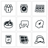 Vector Set of Office Fire Alarm Icons. Royalty Free Stock Photography