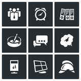 Vector Set of Office Fire Alarm Icons. Stock Image