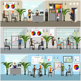 Vector set of office interior banners in flat style design. Business people Royalty Free Stock Images