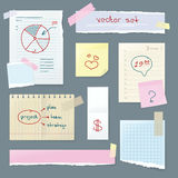 Vector Set Office Paper. Folded Pages with Charts Royalty Free Stock Photo