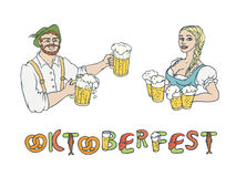 Vector set Oktoberfest. Isolated sketch illustration of man waiter and woman waitress in national costumes with mugs Stock Photography