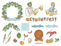 Vector set Oktoberfest. Isolated sketch illustration of man and woman in national costumes with mugs beer, sausage Royalty Free Stock Photography