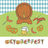 Vector set Oktoberfest. Isolated sketch illustration a mug and a keg of beer, appetizer sausage and pretzels. Seamless Royalty Free Stock Photos