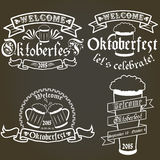 Vector set of oktoberfest labels, design elements. Emblems and badges. logo illustration in vintage style. Templates collection vector illustration