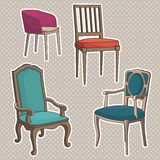 Vector Set of old Armchairs. Stock Photo