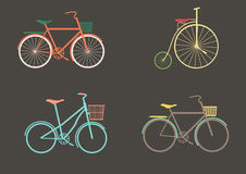 Vector set of old bikes on a gray background,Vector Stock Photos