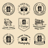 Vector set of old cameras logos. Vintage photo studio, salon signs, labels or badges. Vector set of old cameras logos. Vintage photo studio, salon signs, labels Stock Images