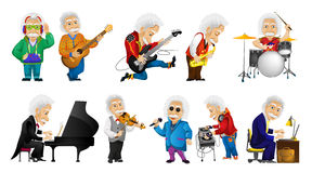 Vector set of old man playing music illustrations. Royalty Free Stock Photos
