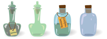 Vector set of old vintage potions bottles, viles with and without labels Royalty Free Stock Photography