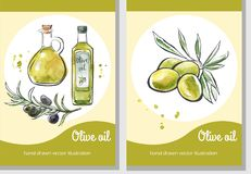 Vector set of Olive oil card templates. Vector set of flier templates Olive oil. Hand drawn olives, glass bottle and pitcher. Black outline and bright watercolor Royalty Free Stock Photos