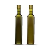 Vector Set of Olive or Sunflower Oil Glass Bottles. Isolated on White Background Stock Images