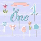 Vector set with One, flowers, paw, ribbon. One handwritten lettering as patch, stick cake toppers, laser cut plastic, wooden toppers. Props for First Year Baby Stock Photography