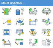Vector set of Online education icons in thin line style. School and college online tutorials and courses. E-learning. Website UI and mobile web app icon stock illustration