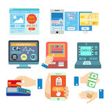 Vector set with online payment. Royalty Free Stock Images