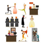 Vector set of opera concept icons, flat style design elements Royalty Free Stock Photos