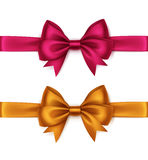 Vector Set of Orange Bright Pink Bows and Ribbons Stock Image
