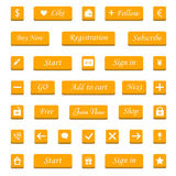 Vector set of orange buttons and web elements for design website Royalty Free Stock Photography