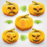 Vector set of  orange halloween pumpkins and Royalty Free Stock Images