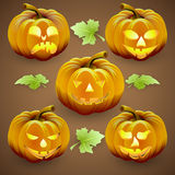Vector set of  orange halloween pumpkins and Royalty Free Stock Photo