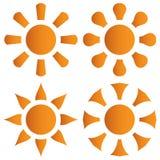 Vector set of orange sun Stock Images