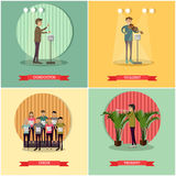 Vector set of orchestra concept posters in flat style Royalty Free Stock Photos