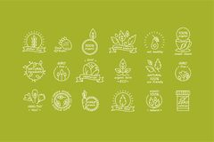 Vector set of organic products labels and badges - collection of different icons and illustrations related to fresh and Stock Photo