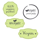Vector set 100% organic, vegan, premium quality product symbols. Vector set 100% organic vegan premium quality product logo for food stock illustration