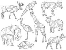 Vector set of origami animal silhouettes. (Elk, Parrot, horse, ground squirrel, elephant, Heron, giraffe, goat, turtle and Antelope Stock Image