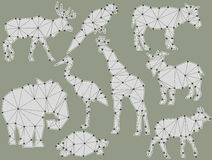 Vector set of origami animal silhouettes Royalty Free Stock Photography