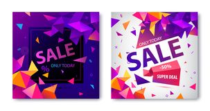 Vector set of origami geometric sale banners, cards, square posters. Facet 3d trendy. Style vector illustration
