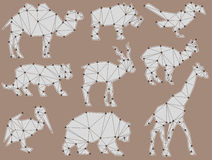 Vector set of origami wild animal silhouettes. (camel, wild boar, bird, Tiger, Antelope, Lama, giraffe, bear and cormorant Royalty Free Stock Photography