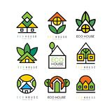 Vector set of original logos with eco friendly houses. Ecological construction. Linear emblems for or architectural. Collection of original logos with eco royalty free illustration