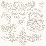 Vector set of ornament in Victorian style. Royalty Free Stock Images
