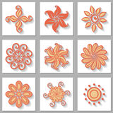 Vector Set of Ornamental Circles with Long Shadow Royalty Free Stock Photo