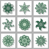 Vector Set of Ornamental Circles with Long Shadow Stock Image