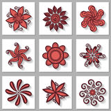 Vector Set of Ornamental Circles with Long Shadow Stock Images