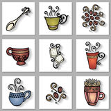 Vector Set of Ornamental Coffee Cups with Long Shadow Royalty Free Stock Photo