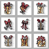 Vector Set of Ornamental Holiday Gift with Long Shadow Royalty Free Stock Photo
