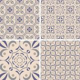 Vector set of ornaments for ceramic tile. Portuguese azulejos decorative patterns. Ornamental square design in oriental style royalty free illustration