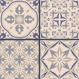 Vector set of ornaments for ceramic tile. Portuguese azulejos decorative patterns. Ornamental square design in oriental style stock illustration