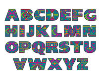 Vector set of ornate capital letters with abstract ethnic patterns. Royalty Free Stock Photography