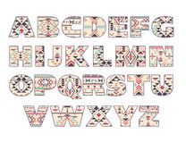 Vector set of ornate capital letters with abstract ethnic patterns. Vector set of ornate capital letters with abstract ethnic African patterns. Fancy alphabet Stock Photography